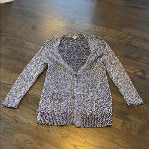 J. Jill Black and White Marled Sweater SP EUC